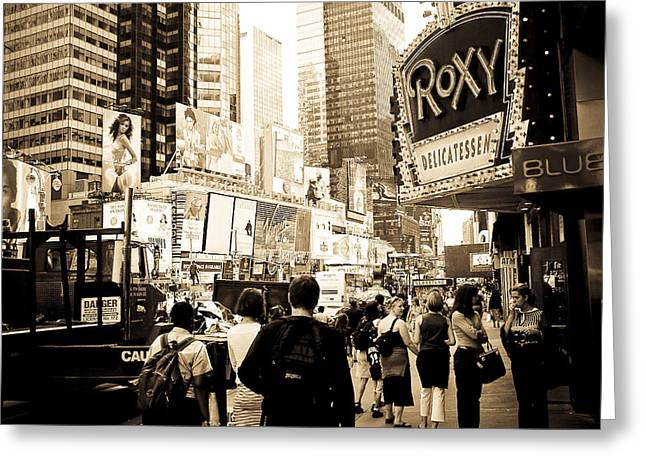 Roxy Greeting Cards - Times Square New York Greeting Card by Mickey Clausen