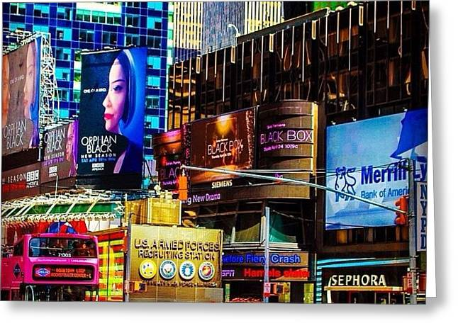 Color Photography Greeting Cards - Times Square Greeting Card by Victory  Designs