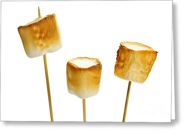 Sticky Greeting Cards - Toasted marshmallows Greeting Card by Elena Elisseeva