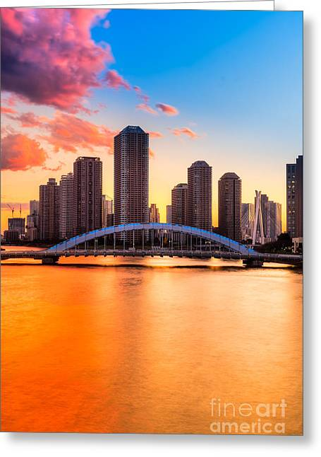 Famous Bridge Greeting Cards - Tokyo skyline - Japan Greeting Card by Luciano Mortula