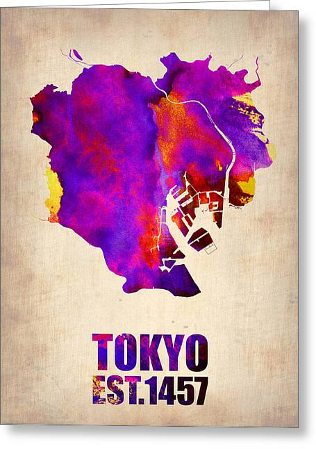 Tokyo Greeting Cards - Tokyo Watercolor Map 2 Greeting Card by Naxart Studio