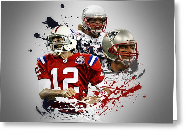 Patriots Greeting Cards - Tom Brady Patriots Greeting Card by Joe Hamilton