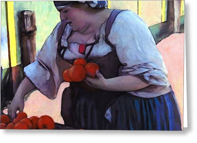 Faire Greeting Cards - Tomatoe Lady Greeting Card by Snake Jagger