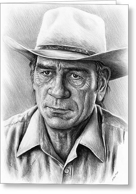 Tommy Hat Greeting Cards - Tommy Lee Jones Greeting Card by Andrew Read
