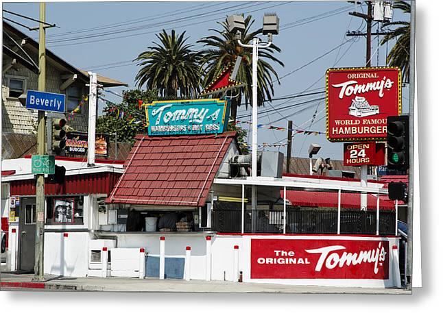 Hamburger Greeting Cards - Tommys World Famous Hamburgers - Los Angeles Greeting Card by Mountain Dreams