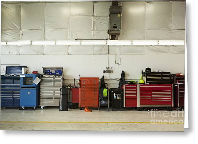 Collar Greeting Cards - Tool Chests In An Automobile Repair Shop Greeting Card by Don Mason