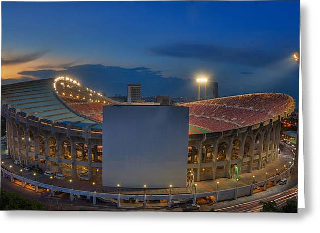 Liga Greeting Cards - Top view of Rajamangala stadium  Greeting Card by Anek Suwannaphoom