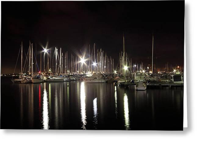 Docked Boat Greeting Cards - Torrevieja Greeting Card by Angel  Tarantella