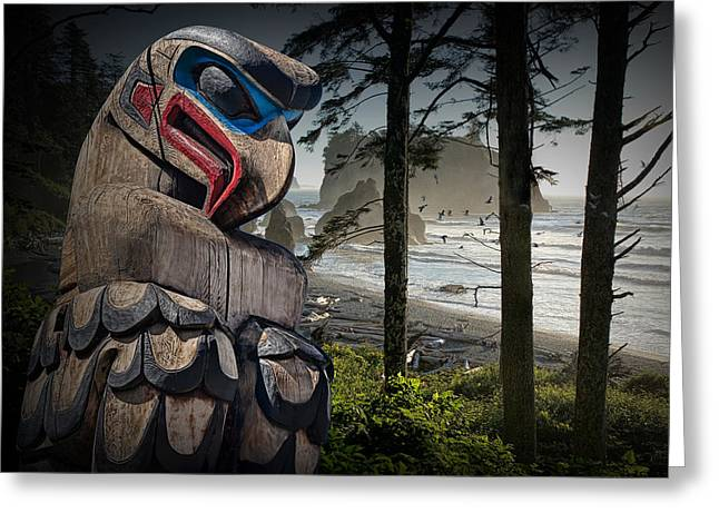 Randy Greeting Cards - Totem Pole in the Pacific Northwest Greeting Card by Randall Nyhof