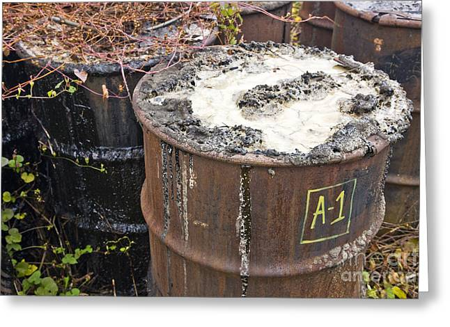 Rusty Oil Drum Greeting Cards - Toxic Waste Greeting Card by Inga Spence