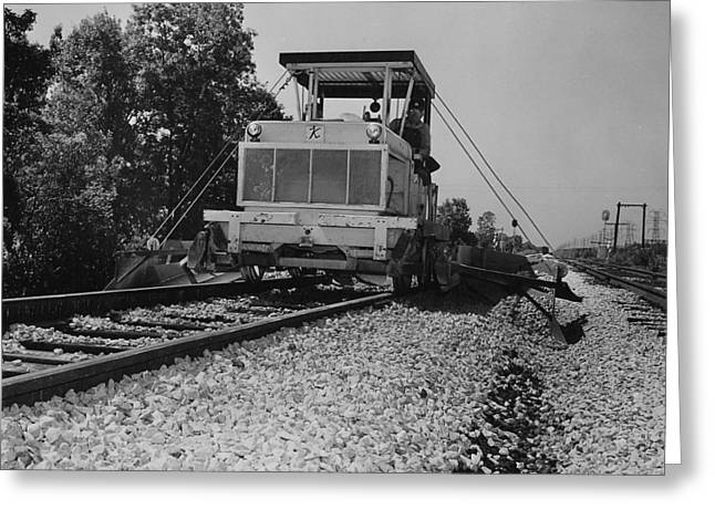 """""""work Crew"""" Greeting Cards - Track Machine at Work - 1957 Greeting Card by Chicago and North Western Historical Society"""