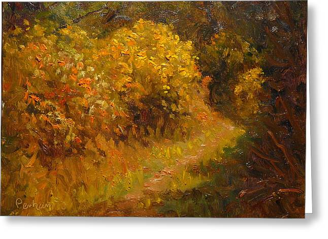Terry Perham Greeting Cards - Track Through The Gorse Greeting Card by Terry Perham