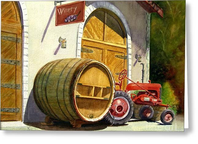 Tractor Pull Greeting Card by Karen Fleschler