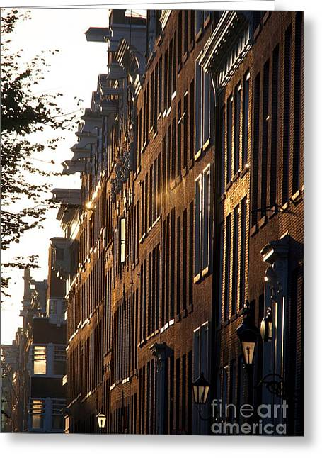 Facades Photographs Greeting Cards - Traditional canal houses in Amsterdam. Netherlands. Europe Greeting Card by Bernard Jaubert