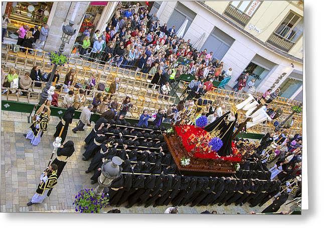 Holy Week Greeting Cards - traditional processions of Holy Week in Malaga Spain Greeting Card by Eduardo Huelin