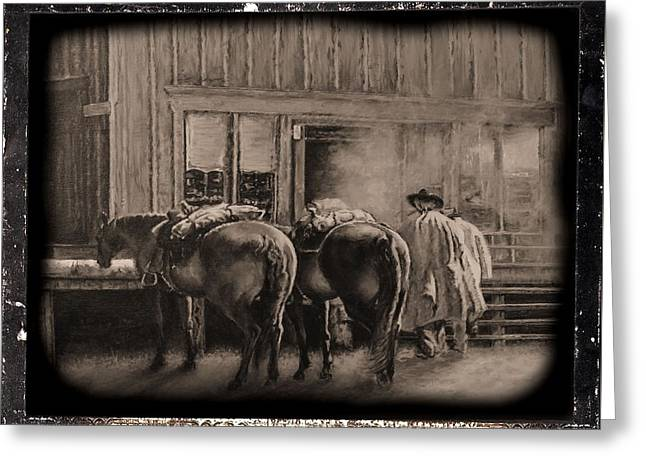 Horse Driven Wagon Greeting Cards - Trail Break Greeting Card by Traci Goebel