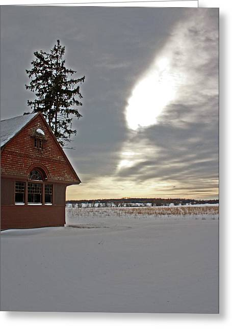 Snowmageddon Greeting Cards - Train Station Greeting Card by Angela Siener