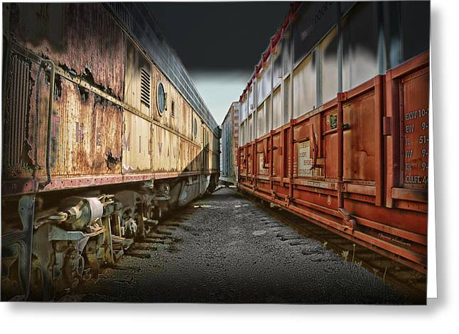 Wheel Thrown Mixed Media Greeting Cards - Train Yards 02 Greeting Card by Thomas Woolworth