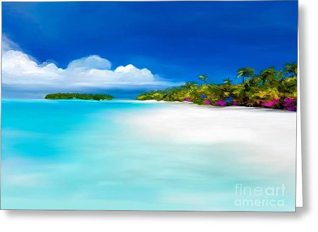 Tranquil Beach Greeting Card by Anthony Fishburne