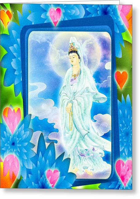 Enable Greeting Cards - Tranquility Enabling Kuan Yin Greeting Card by Lanjee Chee
