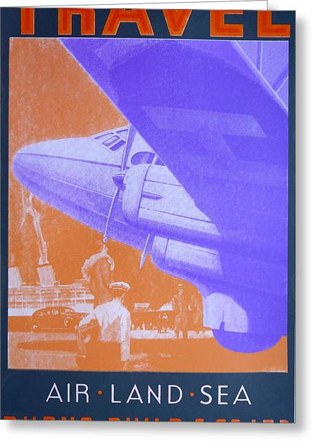 Jet Drawings Greeting Cards - Travel Air Land Sea Greeting Card by David Studwell