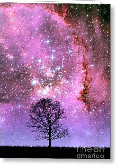 Small Magellanic Cloud Greeting Cards - Tree And Small Magellanic Cloud Greeting Card by Larry Landolfi