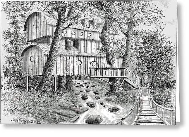 Tree House #5 Greeting Card by Jim Hubbard