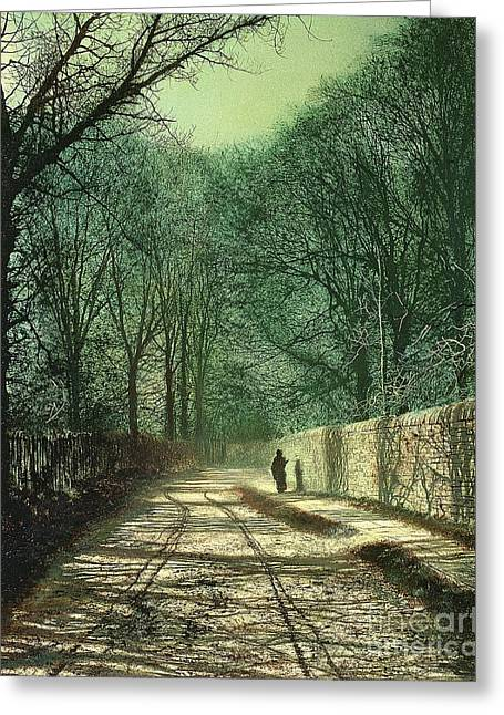 Grimshaw; John Atkinson (1836-93) Greeting Cards - Tree Shadows in the Park Wall Greeting Card by John Atkinson Grimshaw