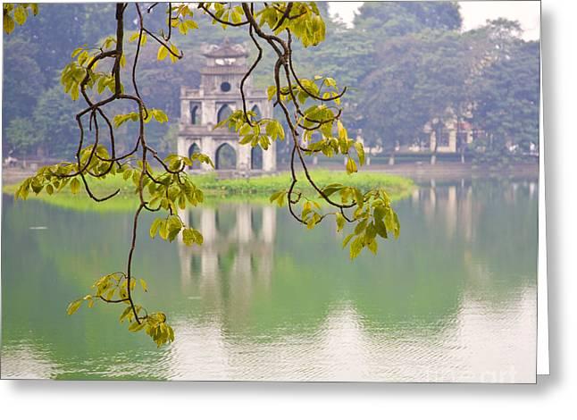 Ancient Ruins Greeting Cards - Tree with View of Hoan Kiem Lake, Hanoi, Vietnam, Asia Greeting Card by David Buffington