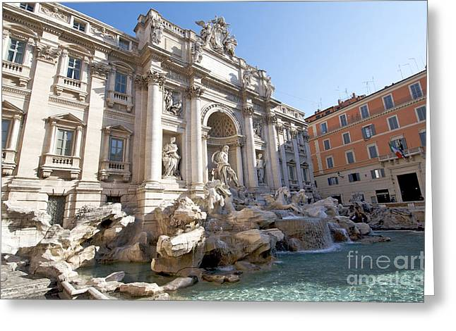 Sculptures Sculptures Greeting Cards - Trevi Fountain. Rome Greeting Card by Bernard Jaubert
