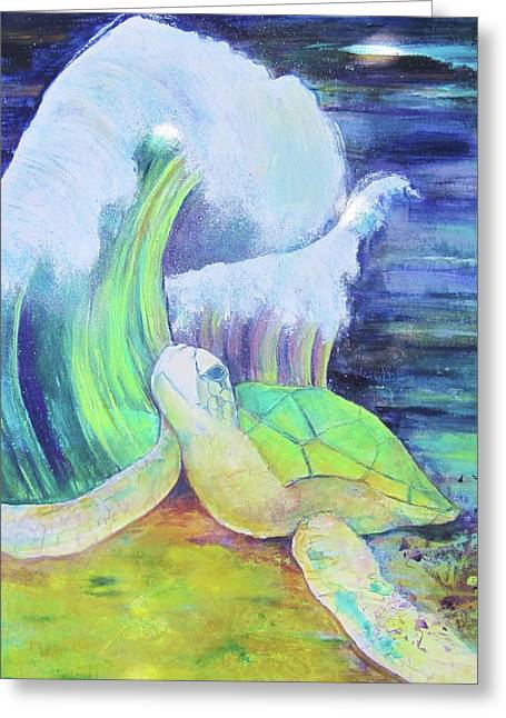 Engulfing Paintings Greeting Cards - Tribute to the sea turtle Greeting Card by Georgia Annwell