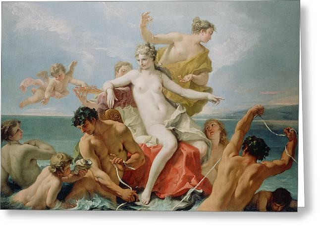 Angel Blues Greeting Cards - Triumph of the Marine Venus Greeting Card by Sebastiano Ricci