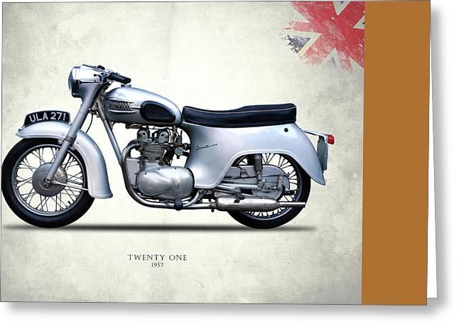 Twenty Greeting Cards - Triumph Twenty One 1957 Greeting Card by Mark Rogan