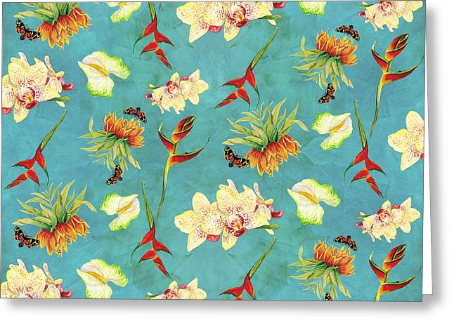 Orchid Greeting Cards - Tropical Island Floral Half Drop Pattern Greeting Card by Audrey Jeanne Roberts