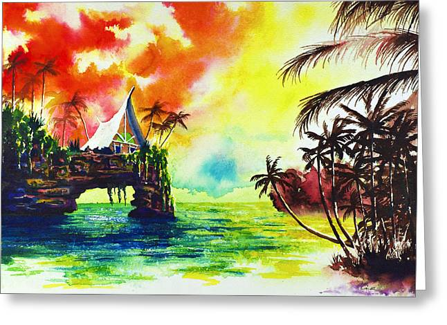 Tiki Art Greeting Cards - Tropical Landscape 15 Greeting Card by Nelson Ruger