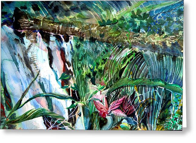 Mist Drawings Greeting Cards - Tropical Waterfall Greeting Card by Mindy Newman