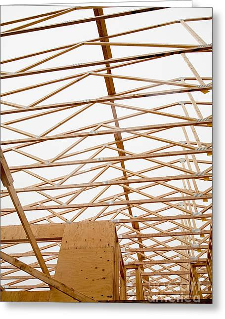 Recently Sold -  - Residential Structure Greeting Cards - Trusses in Home Under Construction Greeting Card by Inti St. Clair