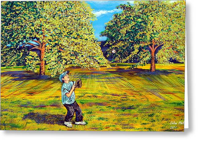 Baseball Field Paintings Greeting Cards - Trying out the new baseball glove Greeting Card by Celine Philibert