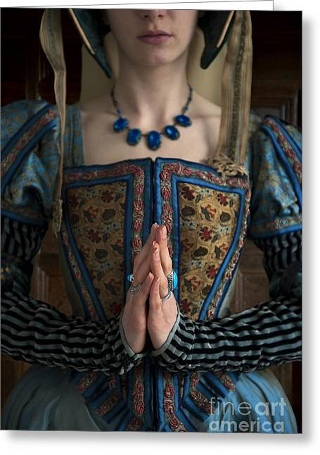 Praying Hands Greeting Cards - Tudor Woman Praying Greeting Card by Lee Avison