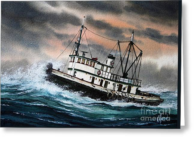 Tug Greeting Cards - Tugboat ARTHUR FOSS Greeting Card by James Williamson