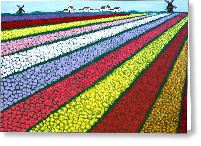 Greeting Card Greeting Cards - Tulip Fields Greeting Card by Frederic Kohli