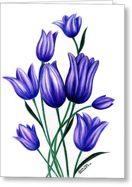Spring Bulbs Drawings Greeting Cards - Tulips for Harry Greeting Card by Sharon Blanchard