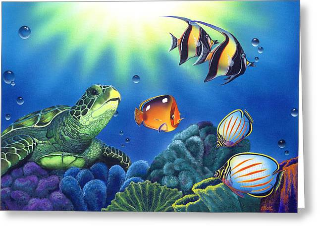 Ocean Turtle Paintings Greeting Cards - Turtle Dreams Greeting Card by Angie Hamlin