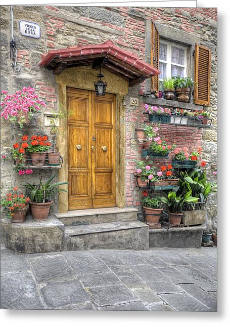 Recently Sold -  - Old Street Greeting Cards - Tuscan Entrance Cortona Greeting Card by Al Hurley