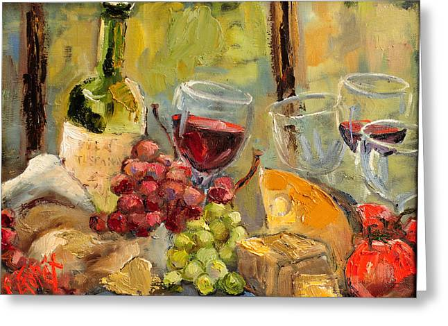 Table Wine Greeting Cards - Tuscan Table Greeting Card by Carole Foret