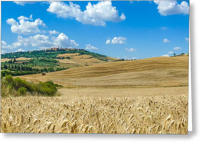 Hay Bales Greeting Cards - Tuscany landscape with the town of Pienza, Val dOrcia, Italy Greeting Card by JR Photography