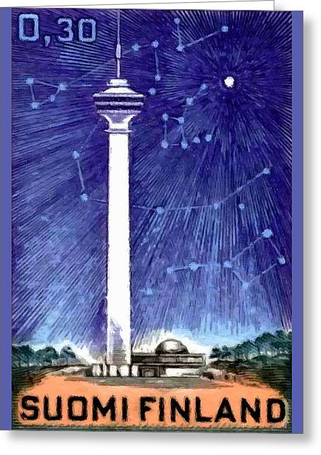 Old Tv Paintings Greeting Cards - TV Tower  Greeting Card by Lanjee Chee