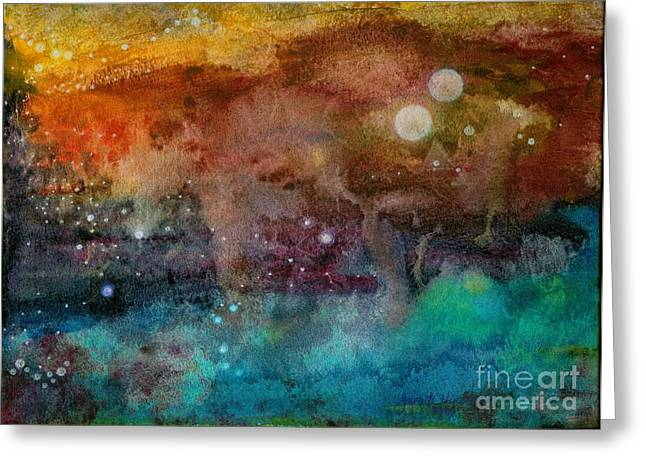 Twilight in the Cosmos Greeting Card by Janet Hinshaw