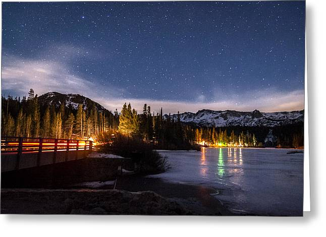 Snow . Bridge Greeting Cards - Twin Lakes at Night Greeting Card by Cat Connor