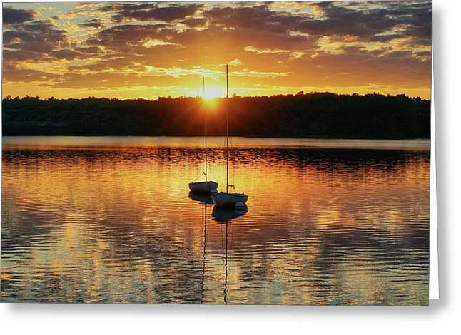 Two Boats At Sunset Greeting Card by Lilia D